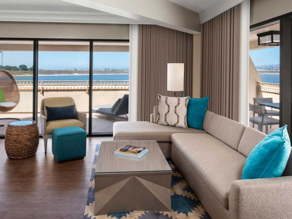 Mission Bay Waterfront Suite sitting room with view