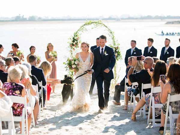 San Diego beach wedding with dog
